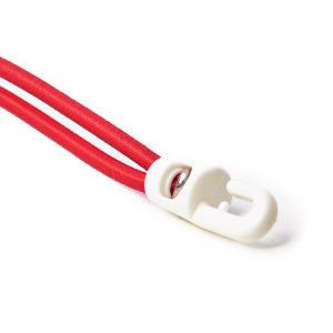 White Plastic Hook Ties Assembled to Red Bungee Cord Elastic