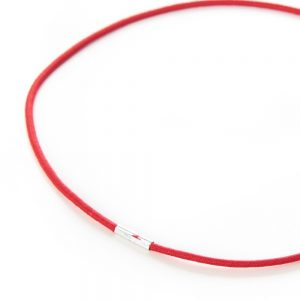 Round Menu Loops Red with Metal Tag Clamped Close Up