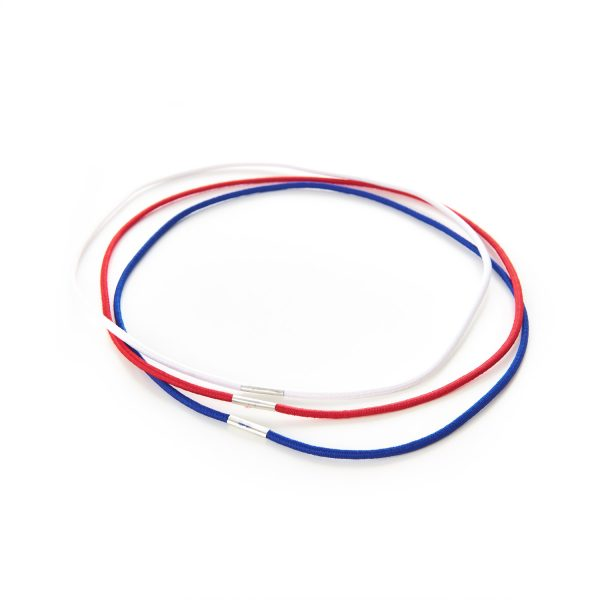 Round Menu Loops Red Blue White Metal Tag Clamped Thin Elastic