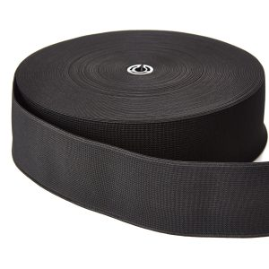 Woven Elastic 50mm Black Webbing Loom Tape
