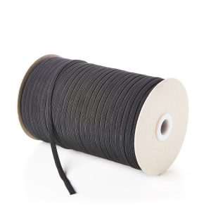 6mm 8 Cord Flat Elastic in Black
