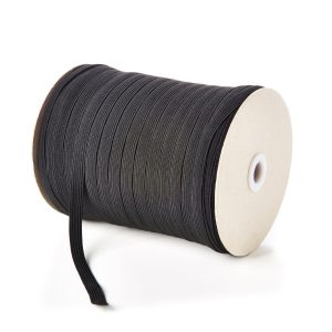 10mm 12 Cord Flat Elastic in Black