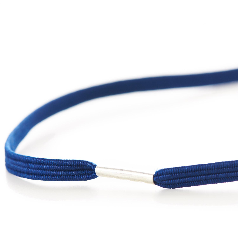 Flat Menu Loops Braided Elastic Metal Tag Blue
