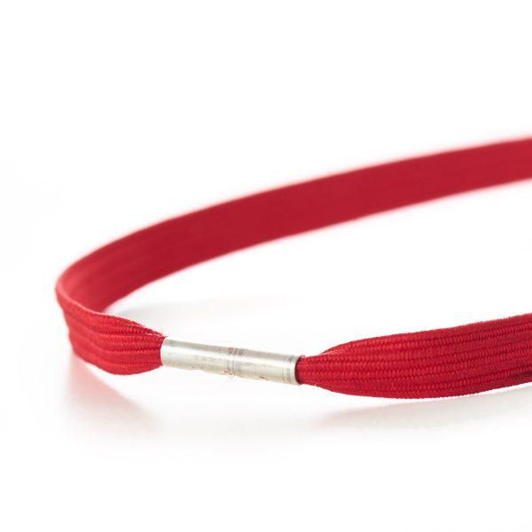 Flat Menu Loops Braided Elastic Metal Tag Red