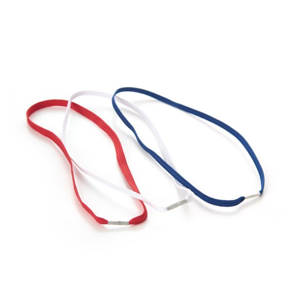 Flat Menu Loops Braided Elastic Metal Tag Red Blue White