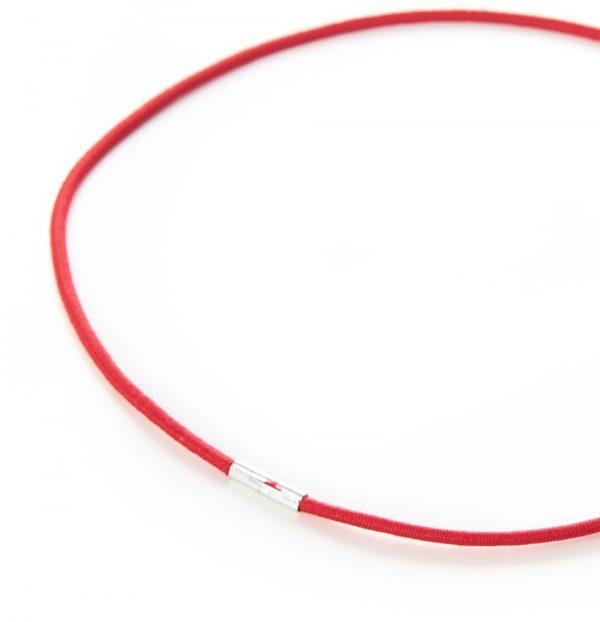 Round Menu Loops Red Metal Tag Clamped Thin Elastic