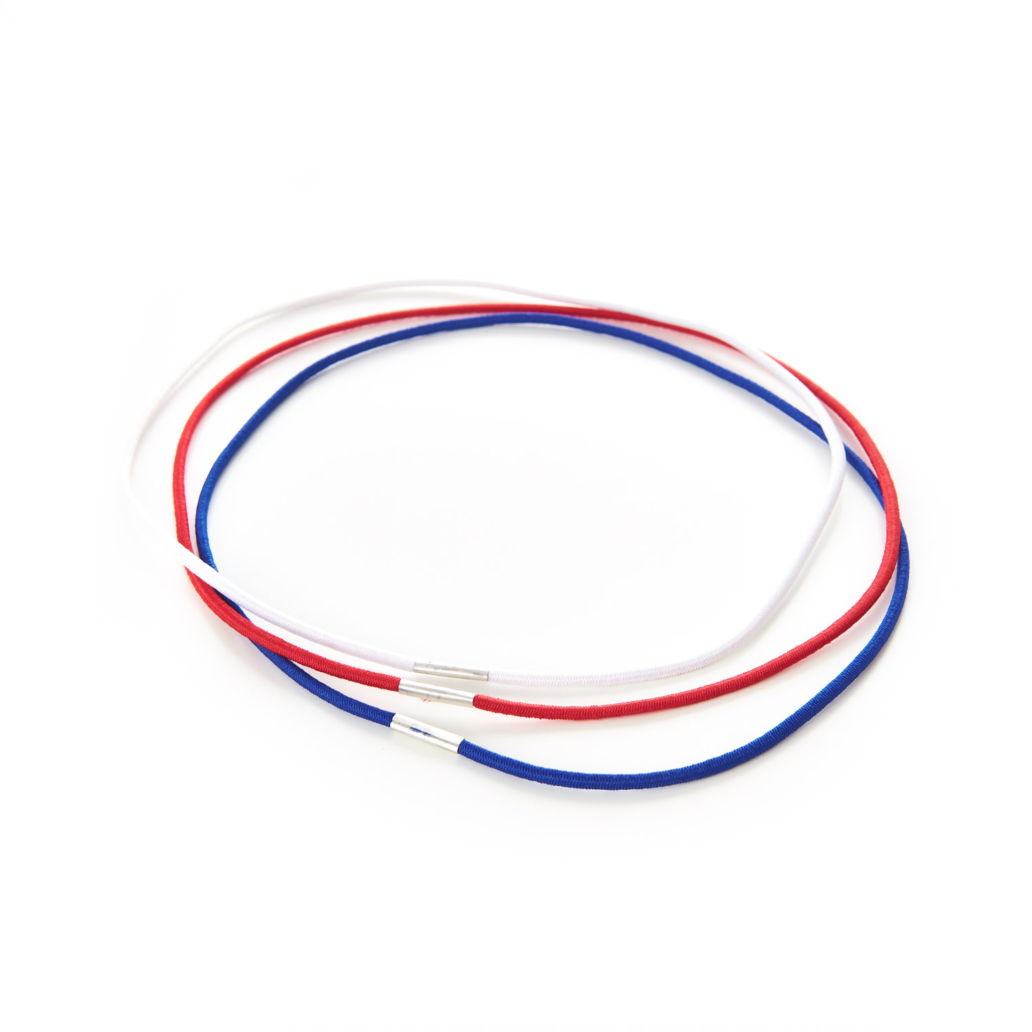 Round Menu Loops Red Blue White Metal Tag Clamped Thin Elastic