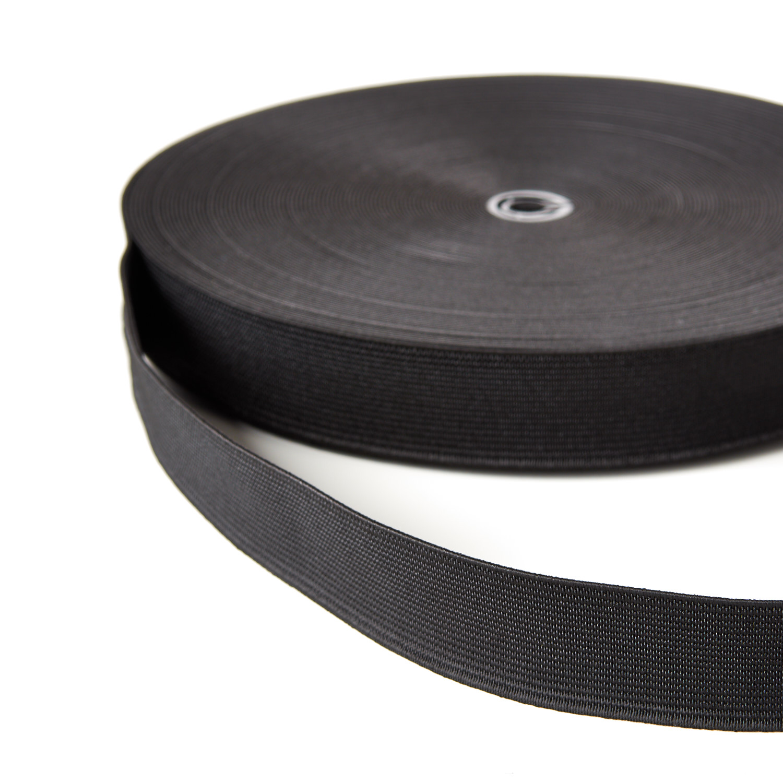 Woven Elastic 25mm 38mm 50mm 19mm Black Webbing Loom Tape