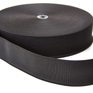 Woven Elastic 38mm Black Webbing Loom Tape