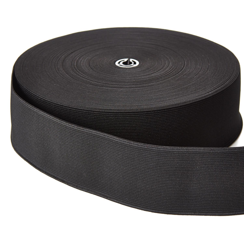 Woven Elastic 50mm Black Webbing Loom Tape