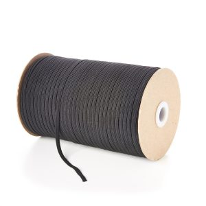 4mm 6 Cord Flat Braided Elastic in Black